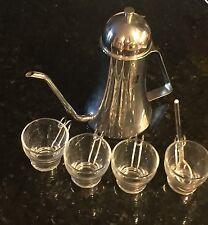 Vintage Lot Vitrosax Italian Espresso Cups & Pewter Teapot Silver tone