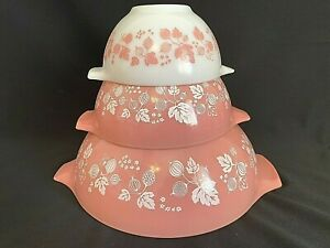 Vintage Pyrex PINK GOOSEBERRY Cinderella Nesting Bowls # 441 - # 442 & # 444
