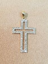 10K Yellow Gold Diamond Cross Pendant Mexico