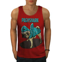 Wellcoda Pug Shark Mens Tank Top, Funny Cute Dog Active Sports Shirt