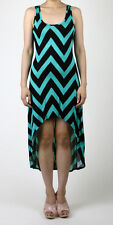 Women Cute Color Trend Chevron Zigzag Stripe Open Back High Low Long Dress USA