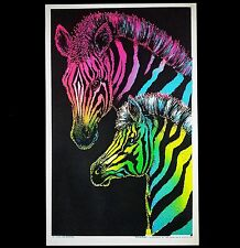 "1973 VINTAGE BLACKLIGHT POSTER BEAUTIFUL ANIMALS PAIR ""ZEBRAS"" VERY RARE PINUP"