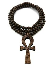 "NEW ANKH CROSS WOOD PENDANT &36"" WOODEN BALL CHAIN HIP HOP NECKLACE XJ217"