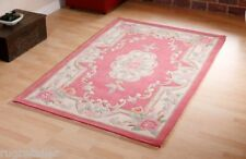 Traditional Chinese Aubusson Rugs Rose Pink Wool Handmade 120x180cm