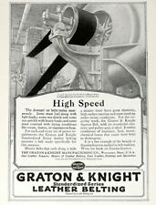 1918 High Speed Leather Belts Print Ad - Graton & Knight Leather Belts Sept 1918
