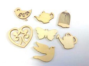 24 Random Mixed Shapes Mdf Wooden Cardmaking scrapbooking craft Embellishment