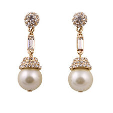 New Clearance Gold Victorian Vintage Antique PEARL & Crystal  Earrings