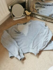 Missguided grey cropped ripped neck jumper oversized size 14