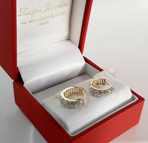 9ct Gold Cubic Zirconia Hinged Huggy Earrings. 13mm Diameter. 3.7g. & Giftcase.