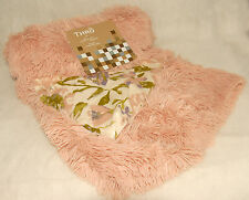 "MARLO LORENZ - Rose Pink - Soft & FUZZY Furry THROW BLANKET 50"" x 60"" *BRAND NEW"