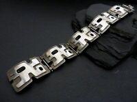Designer 925 Silber Armband Breit Schwer Massiv Vintage Retro Puzzle Brutalist