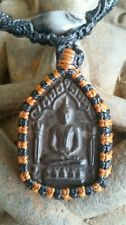 Old Buddha Amulet Pendant wrapped Yoga Necklace Somdej Toh Prayer Cloth Set