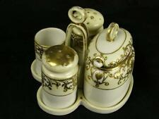 Rare Noritake 175 White And Gold 7 Piece Condiment Set #4 Mustard Toothpick (HH)