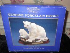 Westminster Bisque Porcelain Polar Bear W Cub On Wood Base