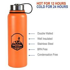 Stainless Steel Water Bottle - 40 oz Wide Mouth Double Walled Vacuum.