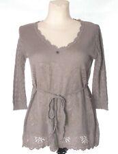 ODD MOLLY Women's Beige Grey 3/4 Sleeve Hip Length Boho Jumper Blouse sz 2 12