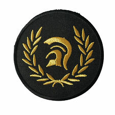 Embroidered Gold Trojan Helmet Laurel Sew or Iron on Patch Biker Patch
