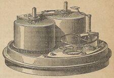 A4379 Interno di un cronometro - Incisione - Stampa Antica del 1887