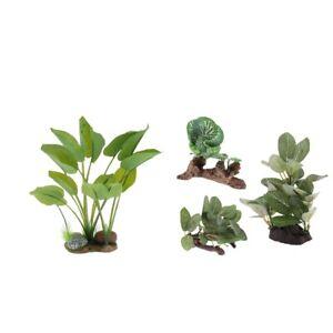 4x Plastic Terrarium Tank Lifelike Plant For Reptile Fish Tank Terrarium