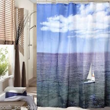 WHITE BLUE NAUTICAL SAILING BOAT OCEAN WEIGHTED HEM SHOWER CURTAIN 180 X 180