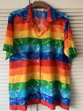 "USA Endless Summer L Rare Hawaiian Rainbow Aloha Surf Shirt Pride LGBT 22"""