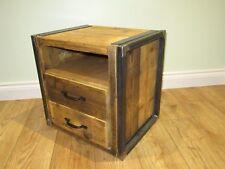 Industrial Reclaimed Bedside Table Cabinet Rustic Retro Metal Wood Handmade