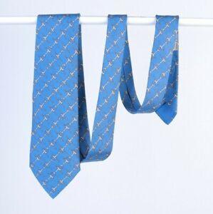 Men's HERMES Paris Horsebit 100% Silk Blue Tie 834 EA