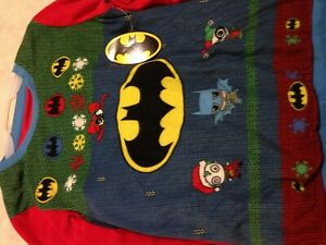 Batman/Joker/Harley Quinn Ugly Pajamas Fleece Sleep Set PJs Christmas NEW w/tags