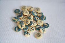 10 pcs Anchor ocean series wood decorative buttons for craft mixed blue ocean  7