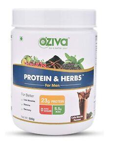 OZiva Protein & Herbs for Men, 16 Servings, Cafe Mocha flavor - 500g