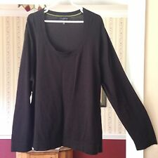Investments Sweater Solid Black Scoop Neck Long Sleeve Popover Knit Plus Size 3X