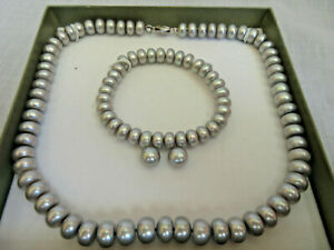 Honora Collection Gray Pearl Set Necklace Earrings Bracelet Box NIB