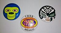 Vintage Collectible Mexican Wrestiling Pin Lot of 3 CMLL Lucha Libre vtg Buttons