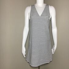 Zara Basic Dress Women's Vneck Sleeveless Black White Stripe Mesh Small