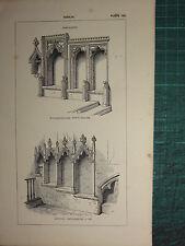 1845 Antico architettura stampa ~ Sedilia DECORATA willesborough mearton
