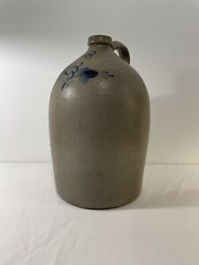 "LARGE ANTIQUE VINTAGE "" WITH BLUE DESIGN""  CROCK JUG IN GOOD CONDITION"