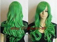 Wigs,vert longue Bouclé santé cosplay Costume cheveux perruques