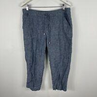 Suzannegrae Womens Pants 14 Blue Elastic Waist Capri Pockets