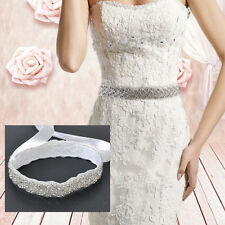 Ivory Handmade Bridal Sash Belt Wedding Dress Crystal /Applique Rhinestone Satin