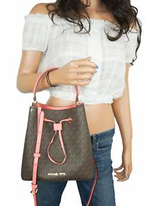 Michael Kors Suri Medium Bucket TH Crossbody Bag MK Signature PVC Leather
