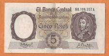 ARGENTINA  ND(1960-62) Very Fine 5 Pesos Banknote Paper Money Bill P- 275(3)