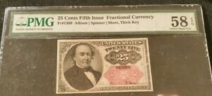 1874 25 cent fractional currency PMG 58 EPQ Allison Spinner Short, Thick Key