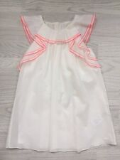 Chloé, White cotton girls sun dress with pink stitch detail and frills, age 5