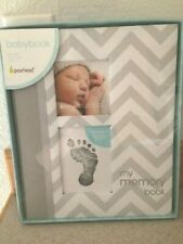Pearhead Baby Memory Book Baby Boy Gray Chevron Print New Keepsake.