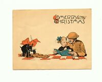 Rare WWI YMCA CHRISTMAS GREETING CARD Draeger ANITA PARKHURST ART soldier Santa