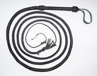 12 foot 12 Plait Black Real Leather INDIANA JONES Stuntman BULL WHIP Bullwhip