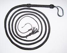 12 foot 12 Plait Black Real Leather INDIANA JONES Stuntman BULL WHIP Bullwhip