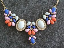 Colourful Gold Tone Rhinestone Acrylic Bead Bib Style Necklace Blue Pink Coral