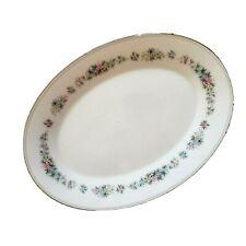 Noritake Cynthia 12 Inch Oval China Serving Platter Pastel Floral Platinum VTG