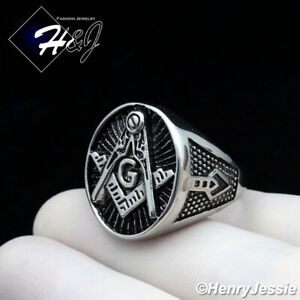 MEN Stainless Steel Black/Silver MASONIC Master Mason Oval Ring Size 8-13*R124